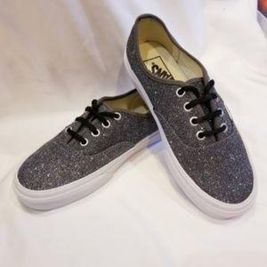 NWOB Gunmetal Grey Sparkle Vans Size 6